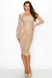 Long Sleeve Open Front Studded Midi Dress - Nude - SohoGirl.com