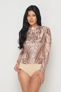 Sequin Embellished Bodysuit - Rose Gold - SohoGirl.com