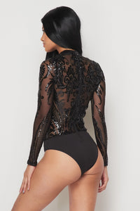 Sequin Embellished Bodysuit - Black - SohoGirl.com