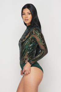 Sequin Embellished Bodysuit - Hunter Green - SohoGirl.com