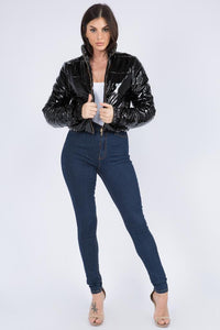 Cropped Puffer Jacket in Black - SohoGirl.com
