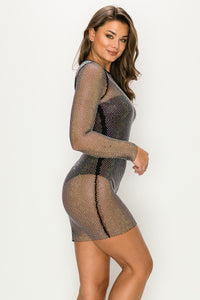 Long Sleeve Studded See-Through Mini Dress In Black - SohoGirl.com