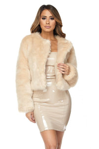 Open Front Faux Fur Jacket - Cream - SohoGirl.com