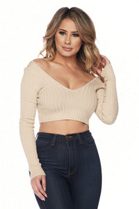 Long Sleeve V-Neck Knit Top Crop Top Off Shoulder - Taupe