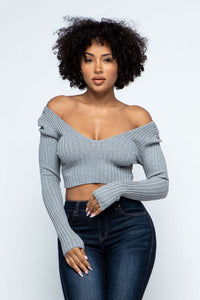 Long Sleeve V-Neck Knit Crop Top Off Shoulder - H.Grey - SohoGirl.com