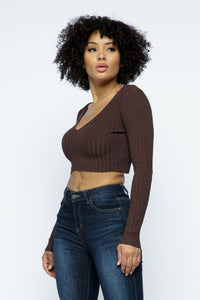 Long Sleeve V-Neck Knit Crop Top Off Shoulder - Chocolate