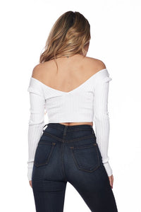 Long Sleeve V-Neck Knit Crop Top Off Shoulder - White - SohoGirl.com