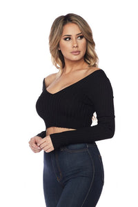 Long Sleeve V-Neck Knit Top Crop Top Off Shoulder - Black