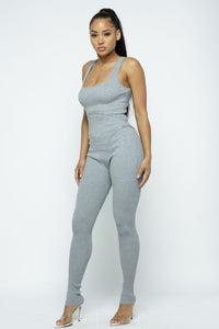 Bodycon Scoop Neck Slvls Jumpsuit - H.Grey - SohoGirl.com