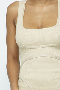 Bodycon Scoop Neck Slvls Jumpsuit - Soft Taupe - SohoGirl.com