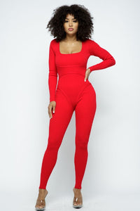 Lslv Jumpsuit With Binding Detail - Red - SohoGirl.com