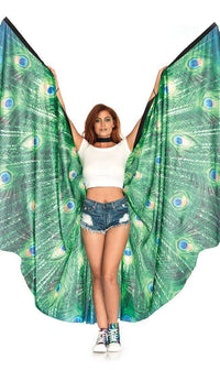 Festive Peacock Feather Print Wings - SohoGirl.com