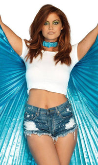 Metallic Blue Pleated Isis Wings - SohoGirl.com