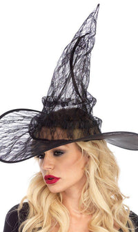 Lace Witch Hat in Black