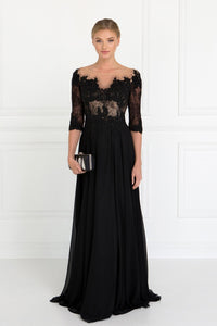 Elizabeth K GL1528 Lace and Jewels Dress in Black - SohoGirl.com