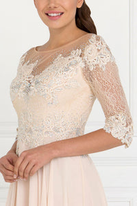 Elizabeth K GL1528 Lace and Jewels Dress in Champagne - SohoGirl.com