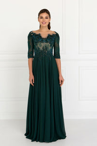 Elizabeth K GL1528 Lace and Jewels Dress in Green