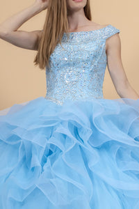Elizabeth K GL1600 Jewel Embellished Bodice Tulle Dress - Blue - SohoGirl.com