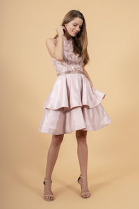 Elizabeth K GS1603 Sequin and Rhinestone Dress - Blush