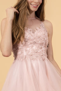 Elizabeth K GS1607 Embroidered Bodice Tulle Short Dress - Blush - SohoGirl.com