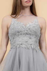 Elizabeth K GS1607 Embroidered Bodice Tulle Short Dress - Silver