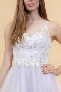 Elizabeth K GS1607 Embroidered Bodice Tulle Short Dress - White