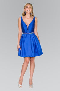 Elizabeth K GS2384 V-Neck Beaded Waist Dress in Royal Blue