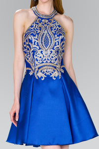 Elizabeth K GS2389 High-Neck Lace Dress in Royal Blue