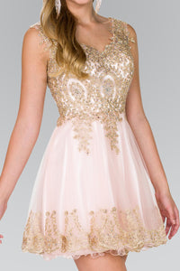 Elizabeth K GS2403 Tulle Short Dress Accented with Gold Lace in Blush