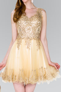 Elizabeth K GS2403 Tulle Short Dress in Champagne - SohoGirl.com