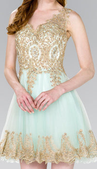 Elizabeth K GS2403 Tulle Short Dress Accented with Gold Lace in Mint - SohoGirl.com