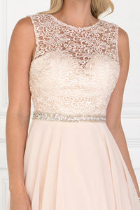 Elizabeth K GS2410 Lace Top Chiffon Skirt Illusion Dress in Champagne - SohoGirl.com