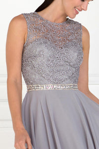 Elizabeth K GS2410 Lace Top Chiffon Skirt Illusion Dress in Silver - SohoGirl.com