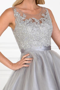 Elizabeth K GS2414 Embroidered Bodice Tulle Short Dress in Silver