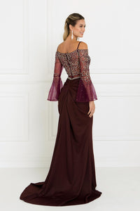 Elizabeth K GL1500 Two-Piece Mermaid Dress in Burgundy - SohoGirl.com