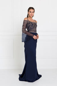 Elizabeth K GL1500 Two-Piece Mermaid Dress in Navy - SohoGirl.com