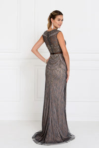 Elizabeth K GL1503 Two-Piece Mermaid Dress in Charcoal - SohoGirl.com