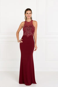 Elizabeth K GL1507 Bead Embellished Mermaid Dress in Burgundy - SohoGirl.com