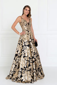 Elizabeth K GL1511 V-Neck Maxi Dress in Black-Gold - SohoGirl.com