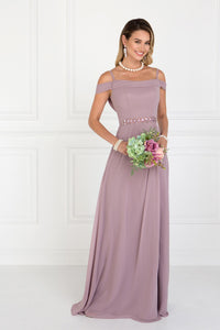 Elizabeth K GL1522 Ruched A-Line Dress in Mauve