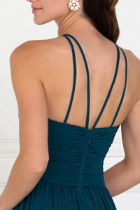 Elizabeth K GL1524 High Neck Ruched Dress in Teal - SohoGirl.com