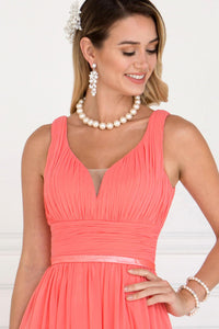Elizabeth K GL1525 Wide V-Neck A-Line Dress in Coral