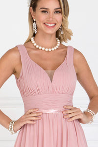 Elizabeth K GL1525 Wide V-Neck A-Line Dress in Dusty Rose