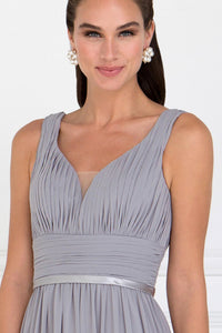 Elizabeth K GL1525 Wide V-Neck A-Line Dress in Silver - SohoGirl.com