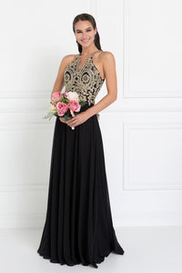 Elizabeth K GL1526 Accented Embroidered Dress in Black