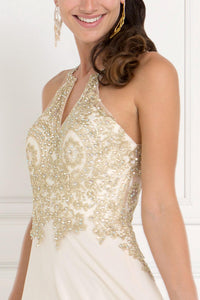 Elizabeth K GL1526 Accented Embroidered Dress in Champagne