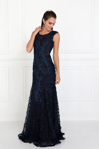 Elizabeth K GL1529 Tulle Mermaid Dress in Navy Blue - SohoGirl.com