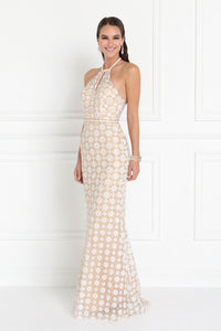 Elizabeth K GL1548 Halter Mermaid Dress in Champagne - SohoGirl.com