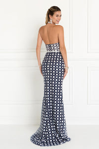 Elizabeth K GL1548 Halter Mermaid Dress in Navy-Silver - SohoGirl.com