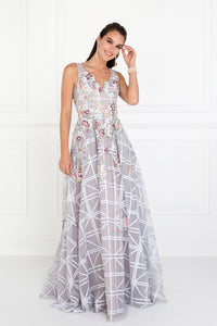 Elizabeth K GL1550 Floral Embroidered Dress in Silver - SohoGirl.com